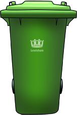 A green 240 litre standard recycling bin