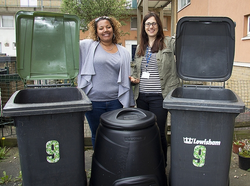 Charlotte Kelly- Skinner, Deptford based childminder pictured with Kate Parkinson from Lewisham's Recycling team.