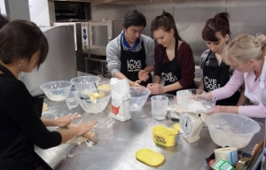 Students learn how to make pastry which can be made into a quiche or a pie.