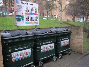 One of the five sites on the Sydenham Hill estate with brand new bins and signs.