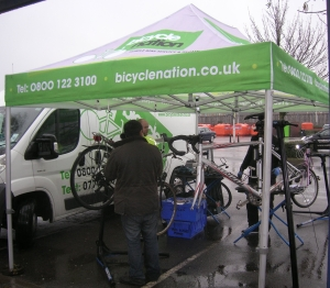 Bicyclenation were on hand to make minor repairs and service peoples bikes.