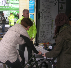 Shoppers were seeing how much power they could generate on a bike.