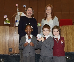 Cllr Susan Wise with St Winifreds Infant School teacher Miss Hampson & winners Lottie, Leona & Frasier.