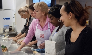Student's at Goldsmith's University learn new cooking skills.