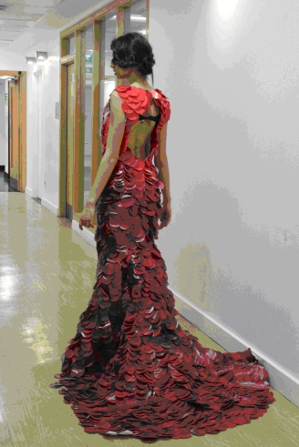KFC dress made from the red take away boxes