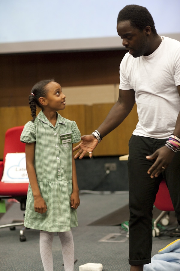 Luna from St Saviours RC Primary School rose to the challenge to act up with Ade from Bigfoot Arts theatre company