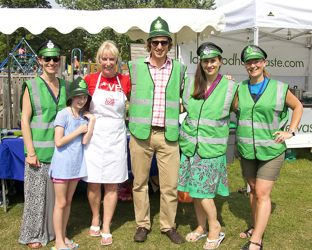 The Green Police Recycling Team with Monica and her daughter Lilian from Love Food Hate Waste.