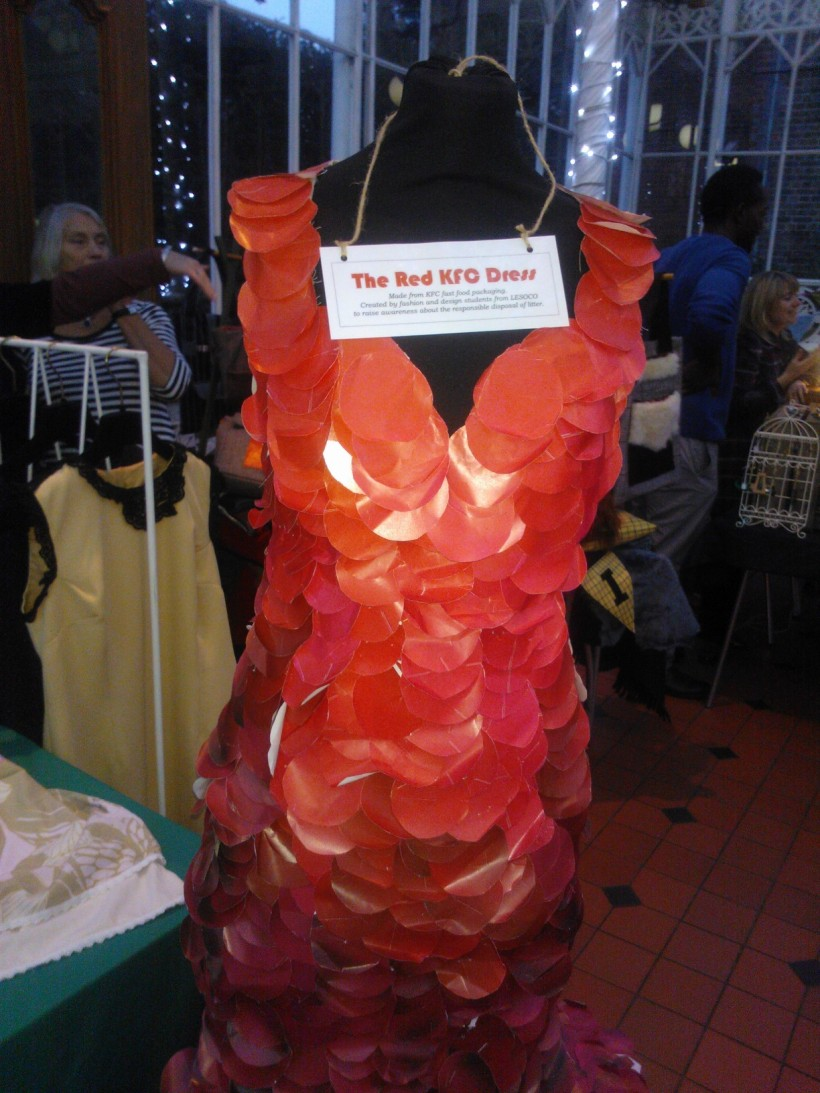 The KFC Red dress was exhibited on the Lewisham stand. Made to raise awareness of litter, Lesoco students used old kfc packaging to create this one off.