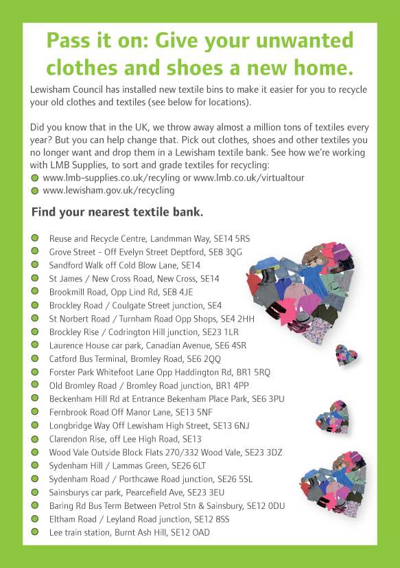 Find a bank near you and drop off your textiles.
