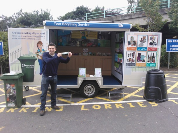 Dave and the Recycling Trailer in action.