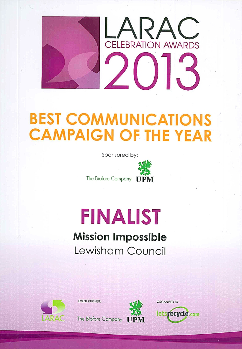 The Council were shortlisted for their excellent communications campaign.