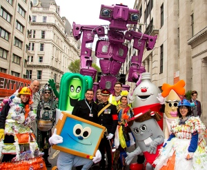 WEEE Man among friends before the parade through the City of London.