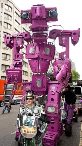 WEEE Man meets giant robot made out of wheelie bins.