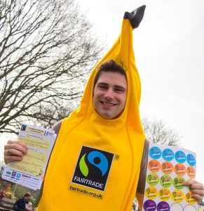 A Fairtrade banana tells people about the plight of the banana farmers at at Horniman Park.