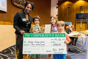 Cleanest and Greenest!  Cllr Rachel Onikosi presents Horniman students Keir Holmes,  Marnie Paul, Jacob Waters with award and cheque for the school.