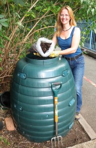 After all the hard work sorting the compost bin, Kristina has some quality compost to use.