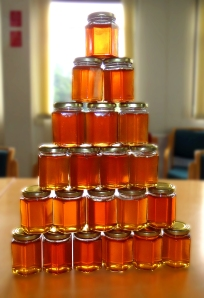 Pre-labelling, 105 jars of 'Wearside Waggle' were produced from the two hives