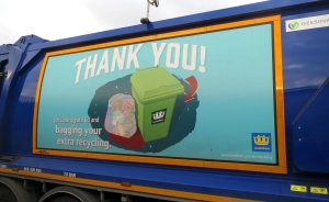 Our crews will take additional recycling materials if they are bagged in clear sacks