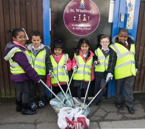 St Winifreds school made sure the outside of their school was spotless