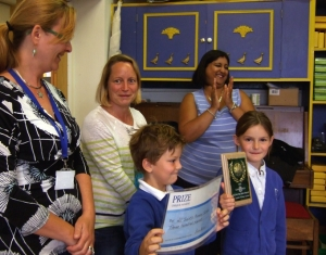 Isla and James with teachers Ms Pippa Williams and Miss De Souza with Kristina Binns from Lewisham Council (left)