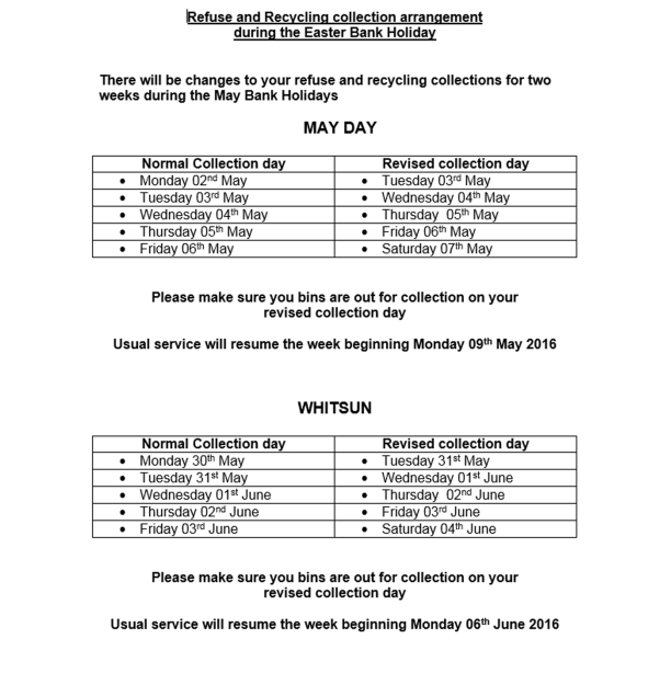 May Bank Holiday Collection Times 2016