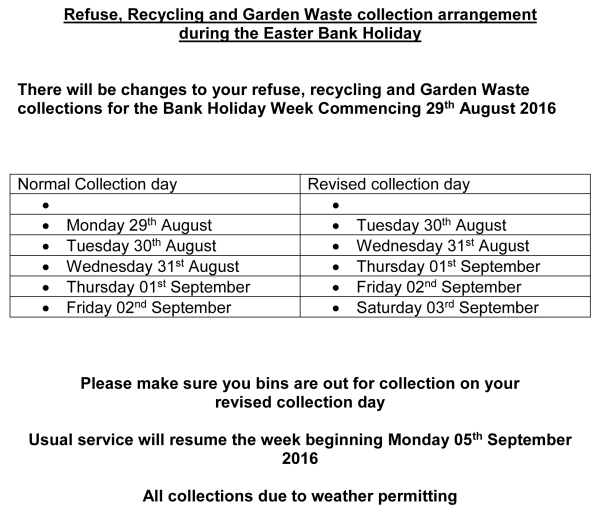 Refuse and Recycling collection arrangement during the Easter an